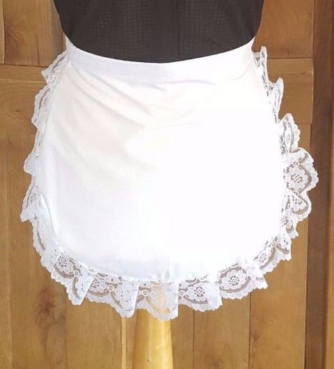 LADIES Victorian / Edwardian WAIST WAITRESS MAID  White Maids Apron LACE TRIM